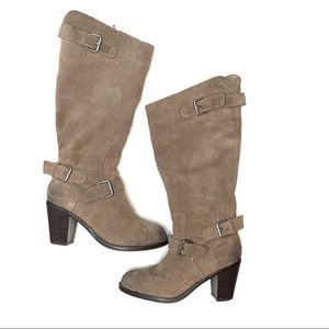 DOLCE VITA SUEDE TALL BOOTS TAUPE SIZE 8.5 ZIPPER